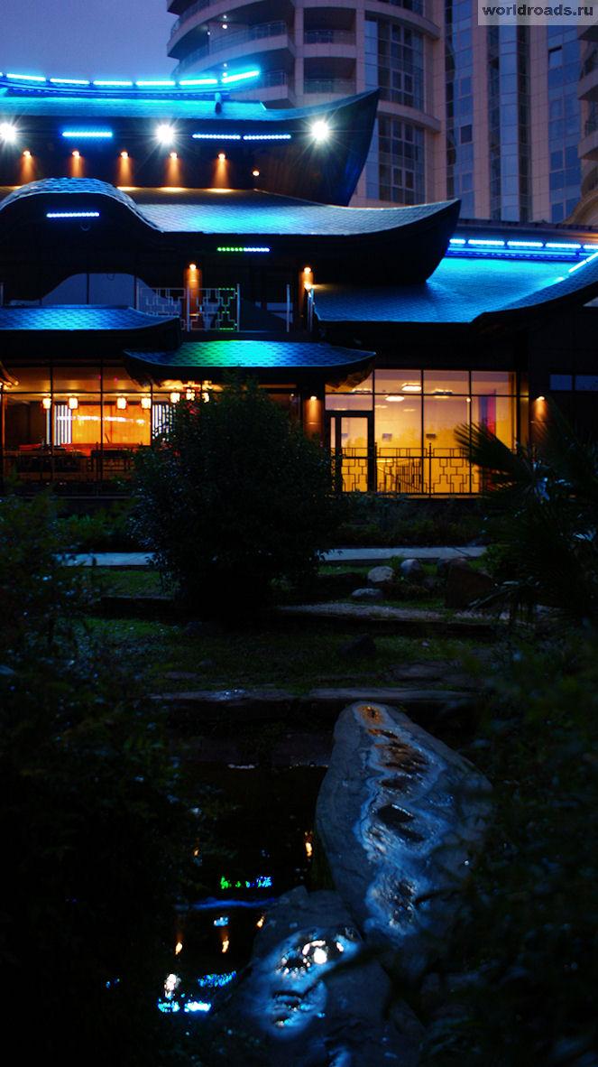 Сочи Японский сад ночью