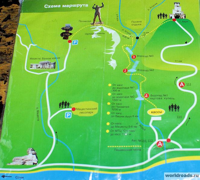 Агурские водопады карта-схема