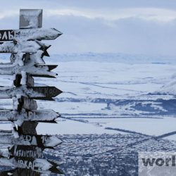 На вершине горы Машук зимой